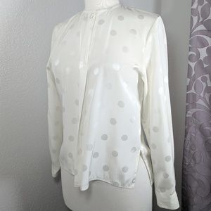 VTG semi-sheer long sleeved silky Polka dot blouse